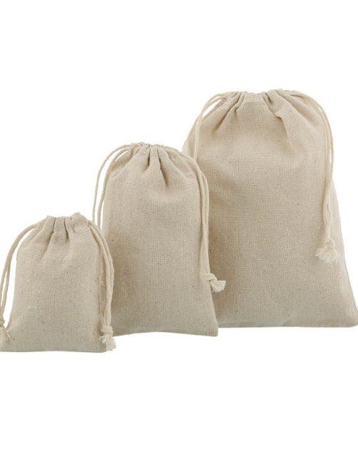 linen mini drawstring bags