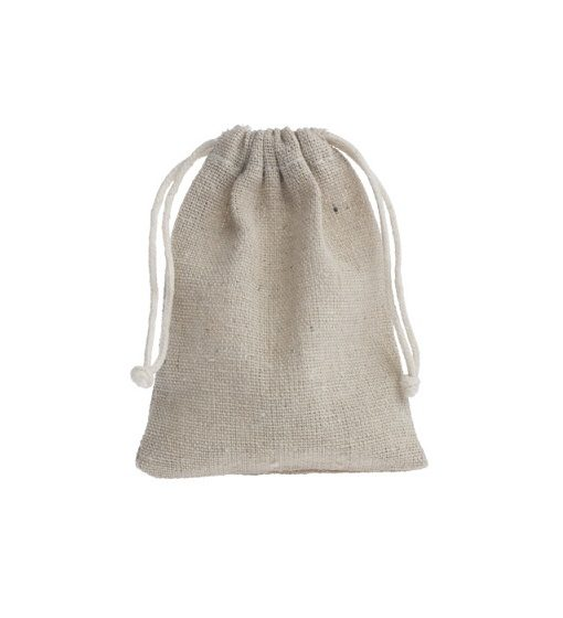 mini linen drawstring bag