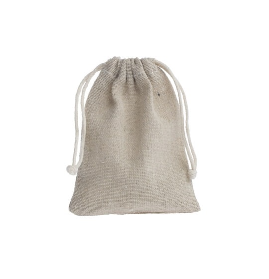 mini linen drawstring bag