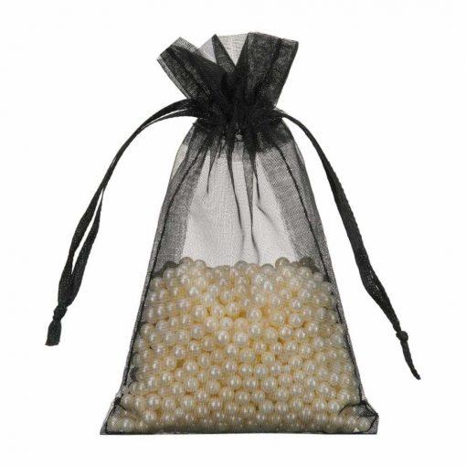 mini organza bag 7x12cm black