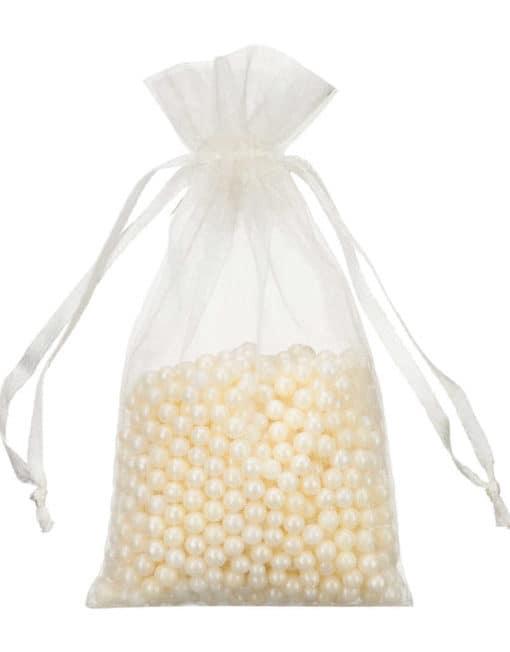 mini organza bag 7x12cm ivory white - cream
