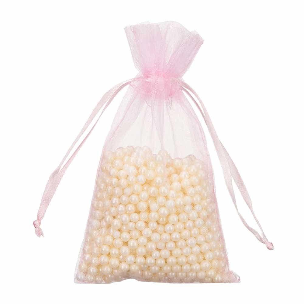 mini organza bag 7x12cm light pink