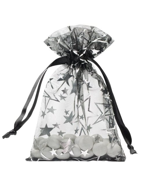 organza bag 10x15cm black with stars