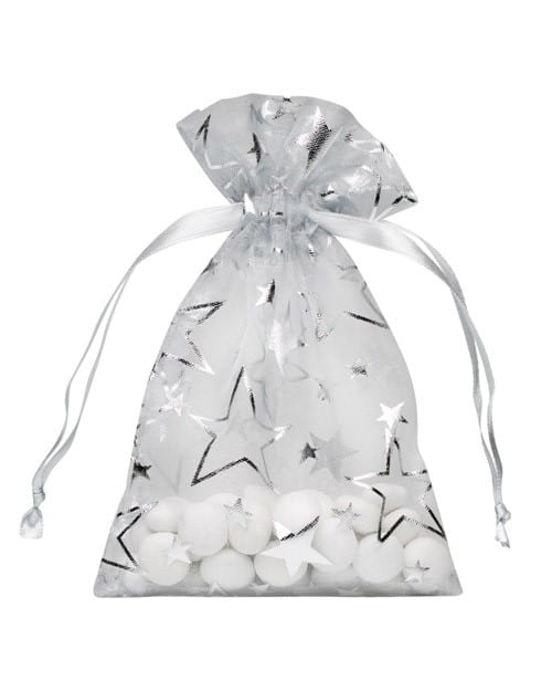 organza bag 10x15cm silver with stars