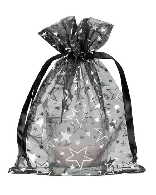 organza bag 15x20cm black with stars
