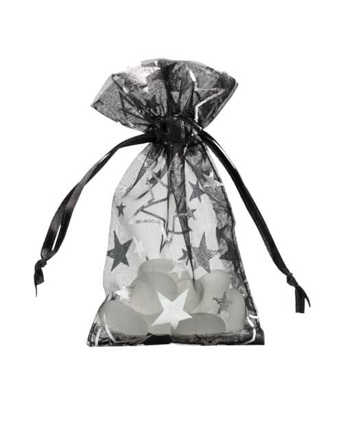 organza bag 7x12cm black with stars