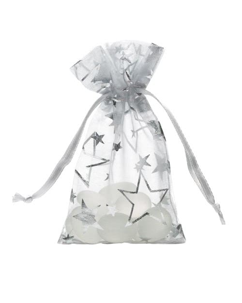 organza bag 7x12cm silver with stars