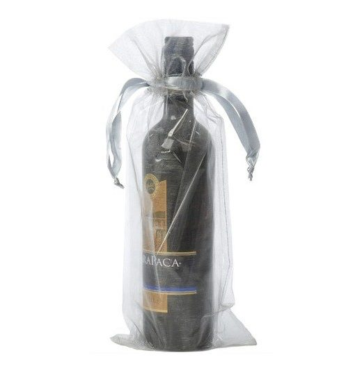organza bottle gift bag 15x38cm silver