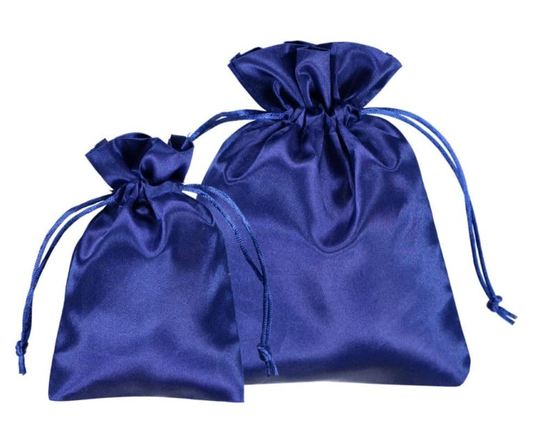 satin blue drawstring bags