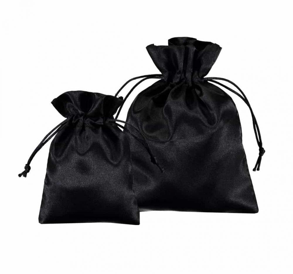 satin drawstring bags black