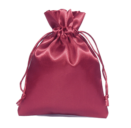 satin pouches 15x20cm wine red