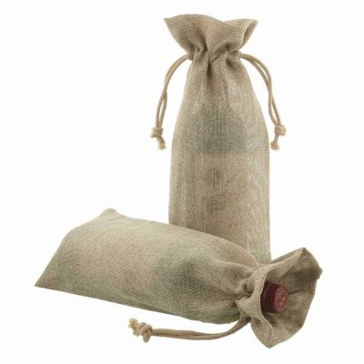 50 pieces Jute Bottle Drawstring Bag 15x38cm