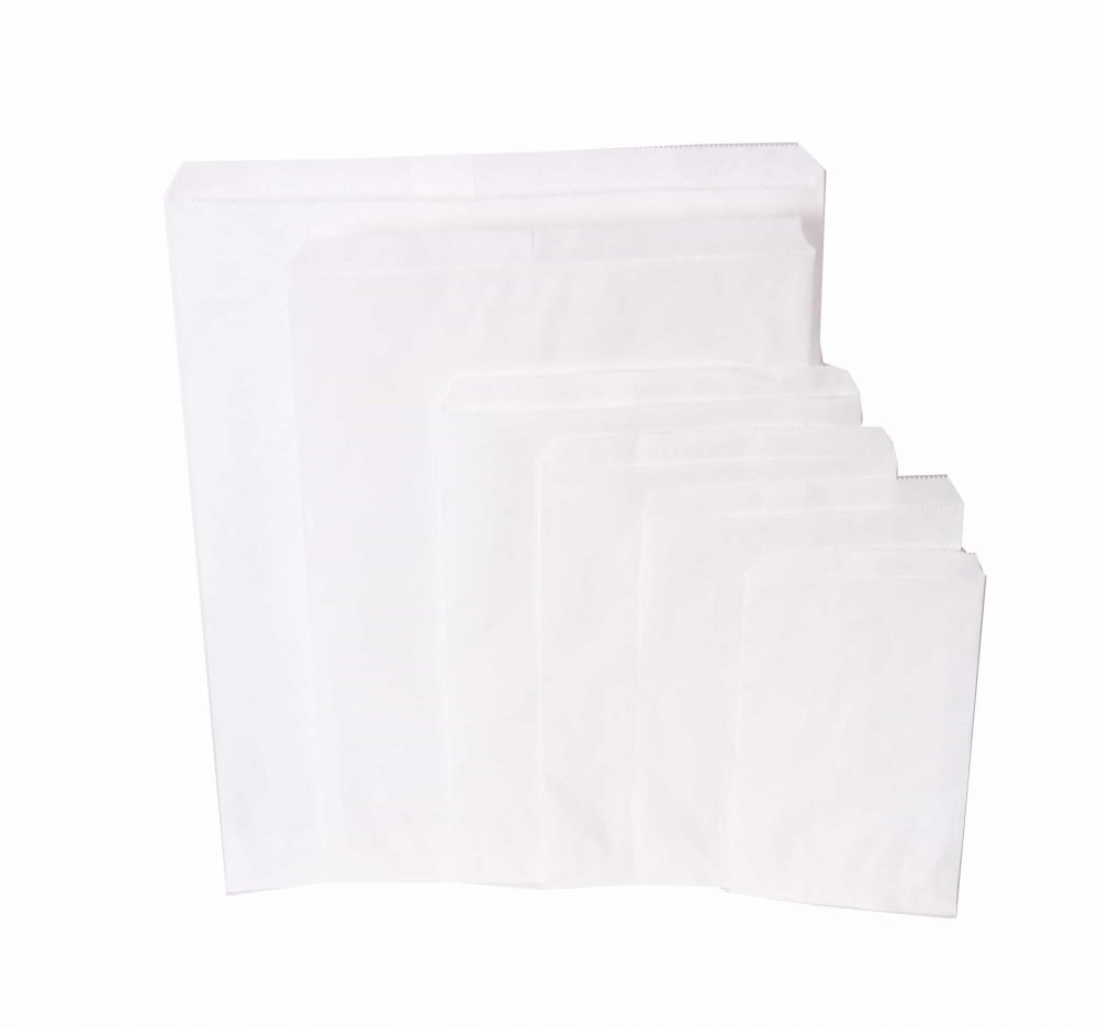 white paper bags, different sizes