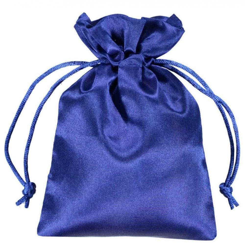 satin drawstring bag 10x15cm blue