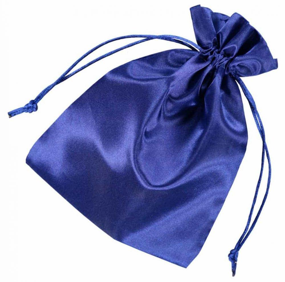 satin drawstring bag 15x20cm blue 2.0