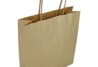 100 pieces Paper Carrier Bags Brown Twisted Cord 18x8x22cm