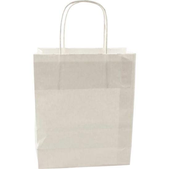 100 pieces Paper Carrier Bags White Twisted 18x8x22cm,