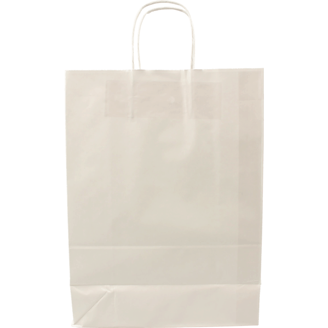 100 pieces Paper Carrier Bags White Twisted 26x12x35cm,