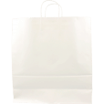 100 pieces Paper Carrier Bags White Twisted 45x17x48cm,