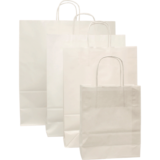 100 pieces Paper Carrier Bags White Twisted Cord various sizes