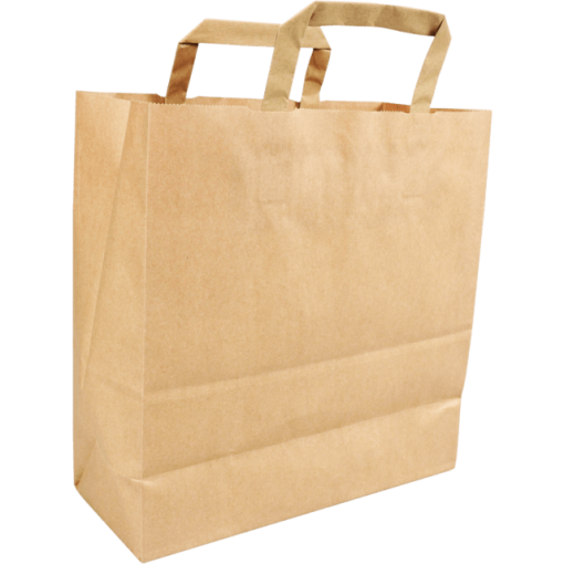 250 pieces Paper Carry Bags Flat Handle Brown 26x13x28cm,
