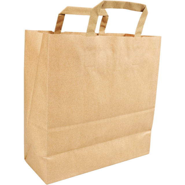 250 Pieces Paper Carrier Bags Flat Handle Brown Various Sizes