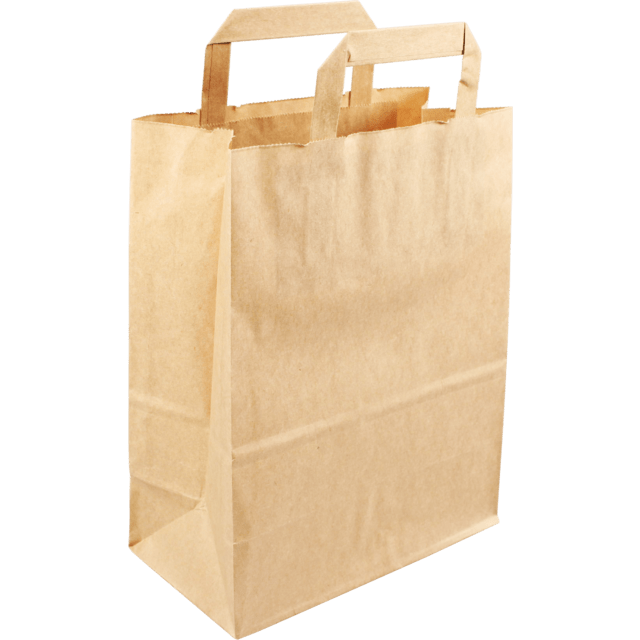 250 pieces Paper Carry Bags Flat Handle Brown size22x10x28cm,