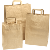 250 pieces Paper Carry Bags Flat Handle Brown various sizes