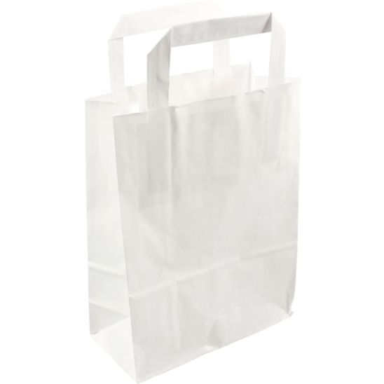 250 pieces Paper Carry Bags Flat Handle White or 22x10x28cm,