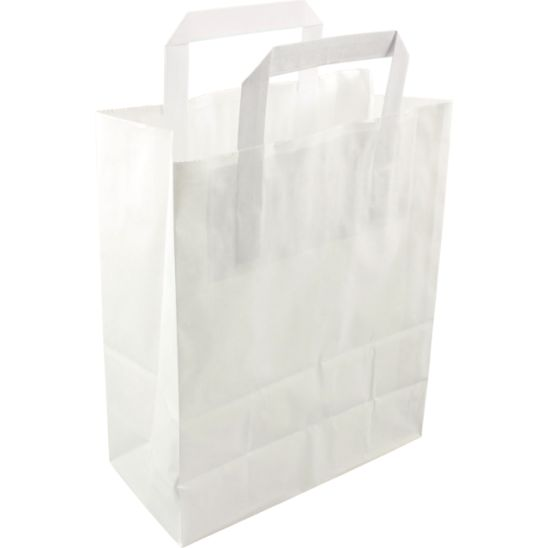250 pieces Paper Carry Bags Flat Handle White various sizes 26x12x35cm,