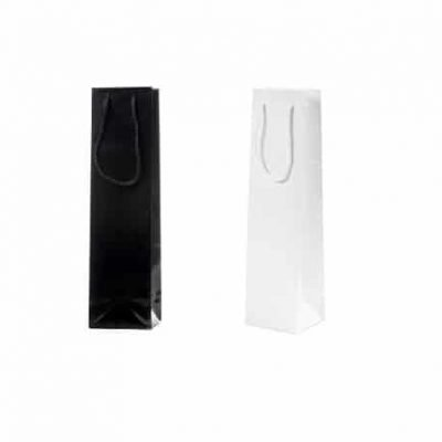 Wine bottle bag black or white lacquered paper