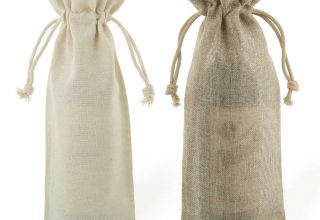 jute and linen bottle bags 15x38cm