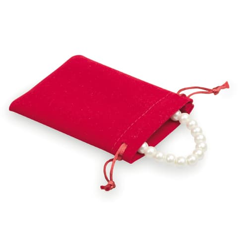 100 pieces Velvet Look Bags 8x10cm red