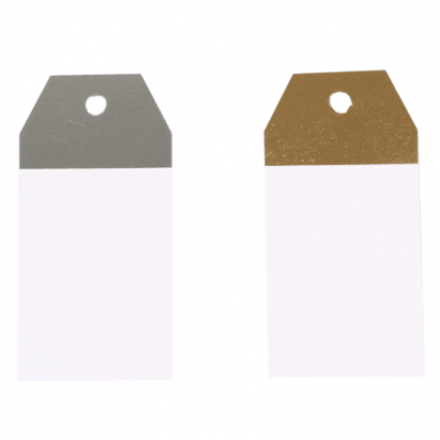 50 pieces Kraft Labels White-Silver or White-Gold 4,5x9cm
