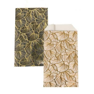 150 pcs Paper Bags Golden Leaves