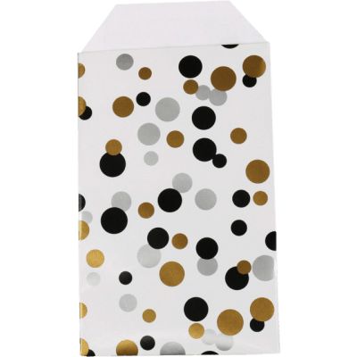 150 pieces Paper Bags Polka Dots Black Gold and Silver