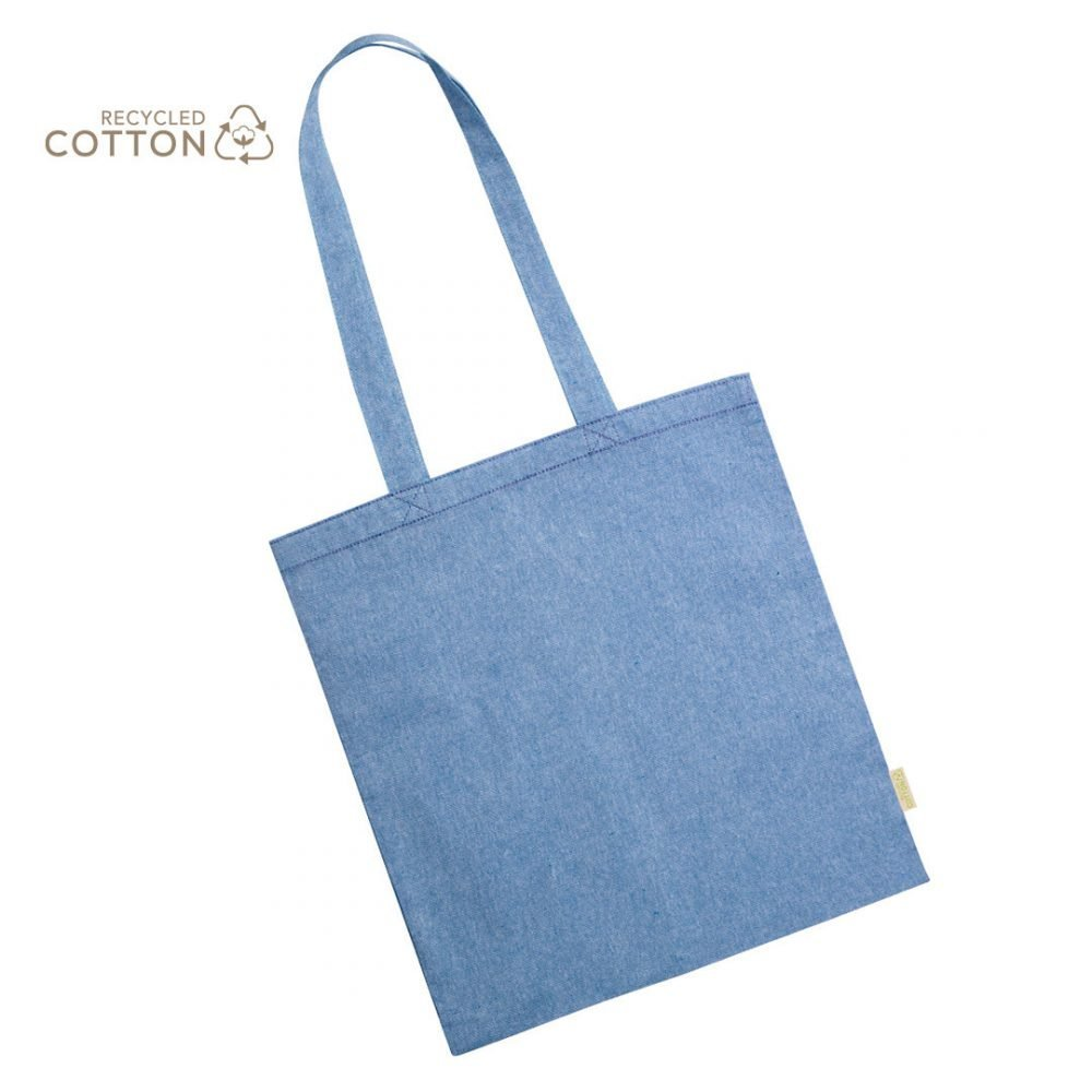 50 pieces 100% Recycled Cotton Shopping Bag blue