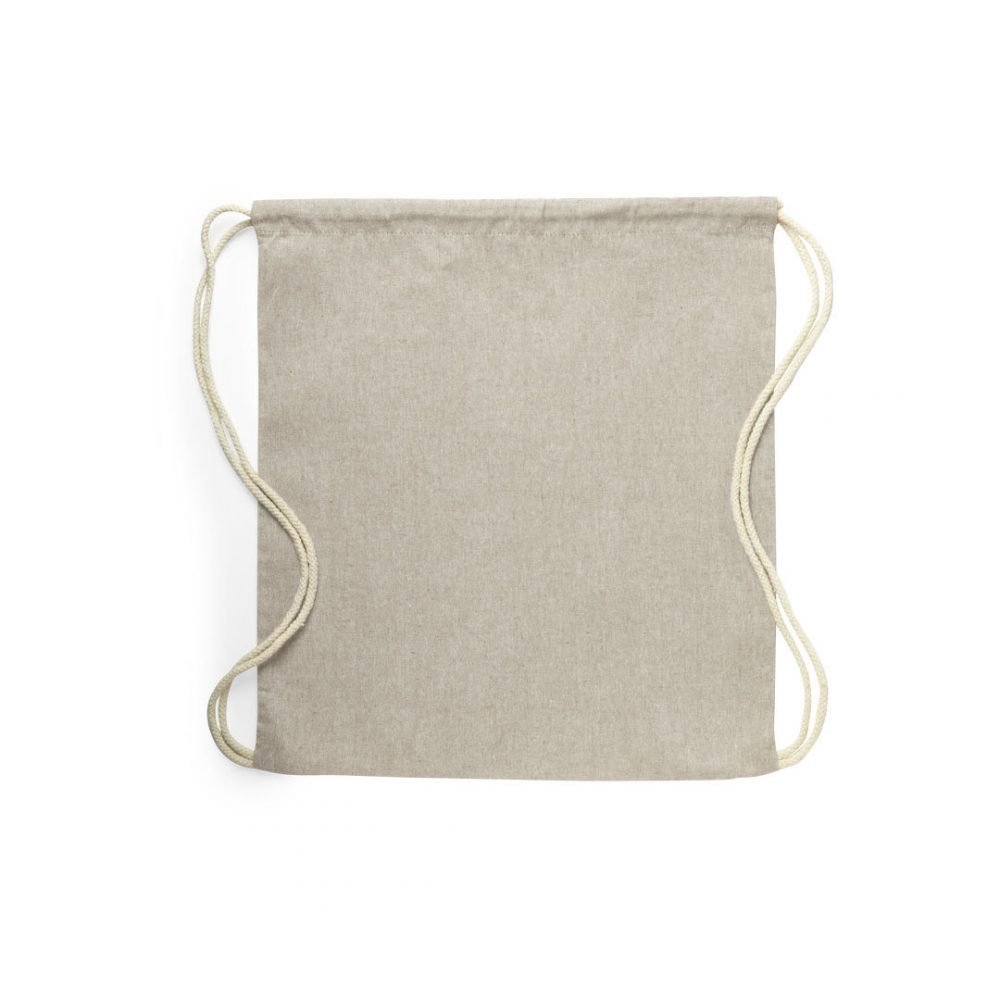 100% recycled cotton backpack 38x42 cm beige