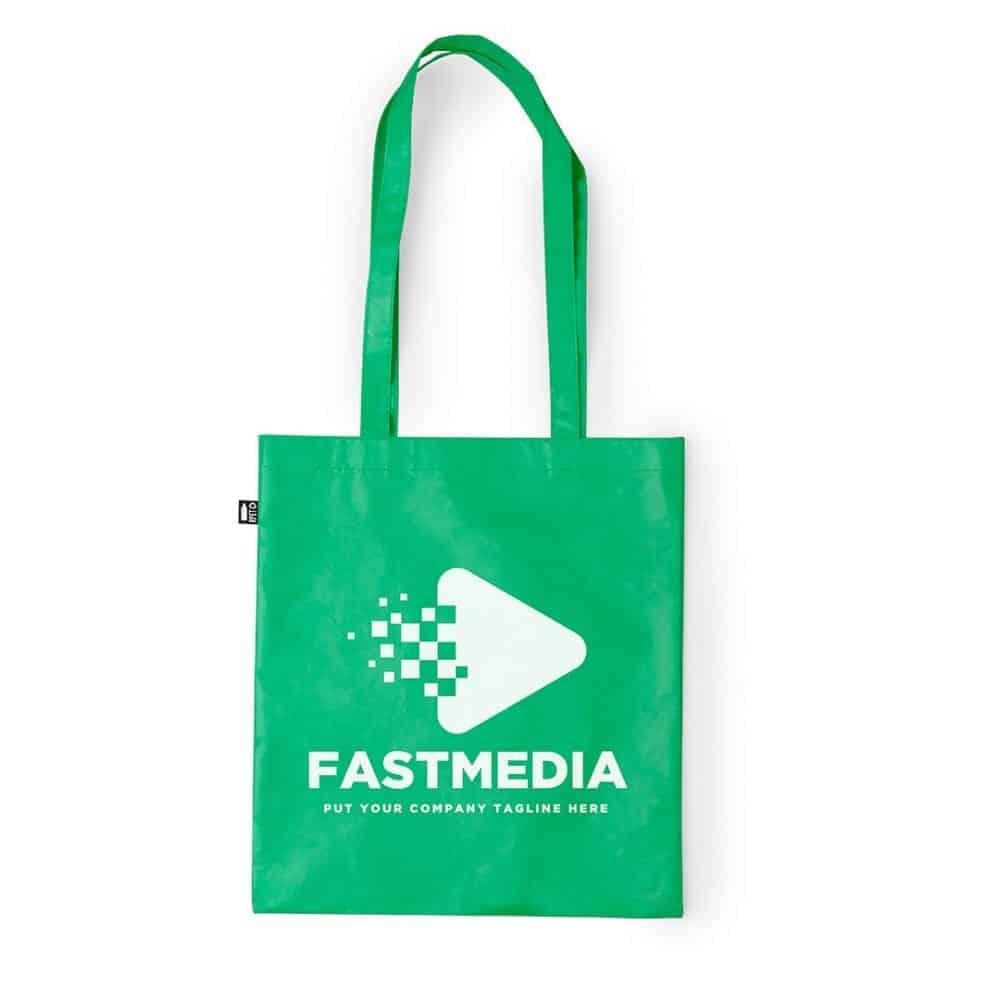 Laminated Shopping Bags 37x41cm green