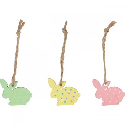 Wooden Pendant Bunny 3.5x3.2cm