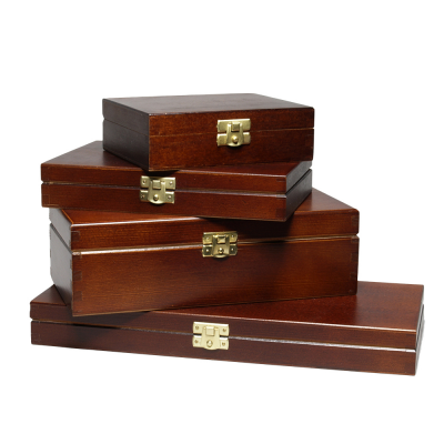 FSC Wooden Boxes with lid A4, A5, A6 outside lacquered in Black or Brown